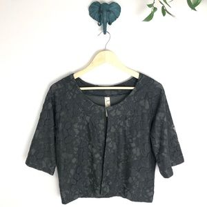 Fossil Gray Lace Silk Lined Cardigan Shrug